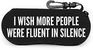 Wthesunshin Deseo que más personas hablaran con fluidez Silencio Gafas de sol Estuche blando Cremallera Estuche para gafas...