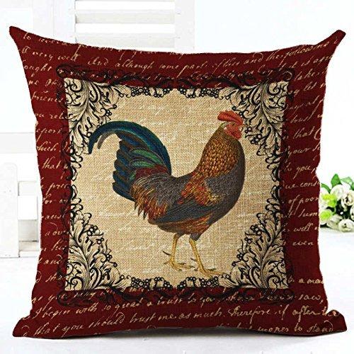 Dana34MaloryVintage Mr Cock Hen - Funda de Almohada de Lino y algodón, diseño de Gallo para Dormitorio o decoración del hogar, 40,6 x 40,6 cm, diseño 3