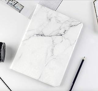 iPad ケース 大理石の紋高級PUレザー製 手帳型 スタンド オートスリープ機能 スマートカバー (new iPad 2017/2018, ホワイト)