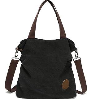 Myhozee Handtasche Damen Canvas Umhängetasche,Taschen Damen Strandtasche Schultertasche Crossover Bag für Mädchen Frauen-SCHWARZ