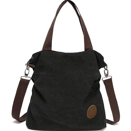 53d3a52f73 Myhozee Damen Canvas Handtasche - Umhängetasche Henkeltasche Schultertasche  Messengertasche Crossover Bag für Mädchen Schule Frauen Shopper