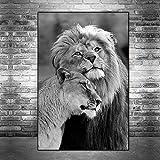 GJQFJBS Peintures sur Toile d'amant de Lions Sauvages africains sur Le Mur Art Affiche et Impressions de Lions Animaux Noir et Blanc réplique de Photos d'art (sans Cadre) 60x100CM