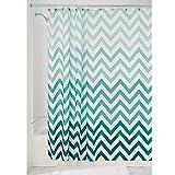 iDesign Ombre Chevron Textil Duschvorhang | 183 cm x 183 cm Vorhang aus Stoff mit Zickzackmuster | leicht zu pflegene Duschabtrennung für Badewanne & Duschwanne | Polyester grün