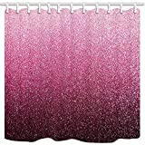 vrupi Romantische Squin Festival Duschvorhänge für Badezimmer rosa Glitzer-Textur für Valentinstag Polyester-Stoff wasserdicht Duschvorhang Haken enthalten 180 x 180 cm