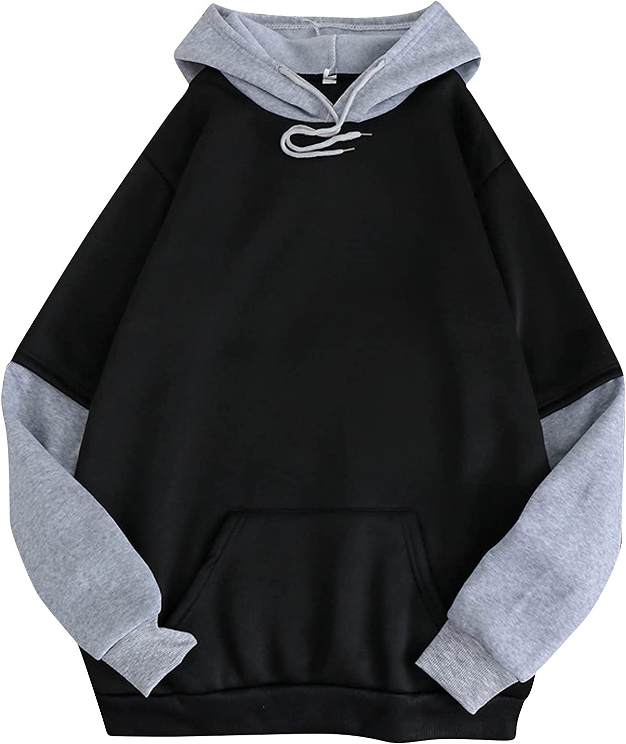 Women's Hoodies Tops Long Sleeve Casual Sweatshirts Pure Color Patchwork Loose Hooded Pullover with Drawstring