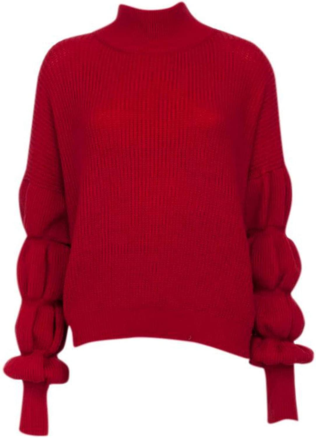 Charmg Fashion Puff Sleeve Women Omaha Mall Knitted Autu Turtleneck Sweater Quality inspection