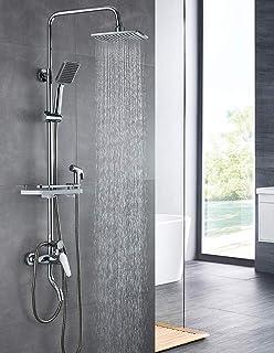 Grifo para ducha Termostato Cabezal de ducha Ducha de lluvia 40x40cm Sistema Ducha Termost/ático Lluvia Barra Mano Lat/ón Acero