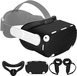 Vakdon 4en1 Kit pour Oculus Quest 2, Aver Couvercle de la Poignée du Contrôleur Tactile et VR Masque et Capot de Protectio...