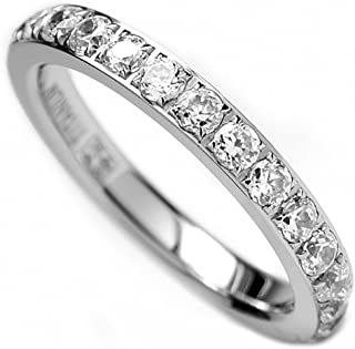3MM Ladies Titanium Eternity Engagement Band, Wedding Ring with Pave Set Cubic Zirconia Size 4 to 9