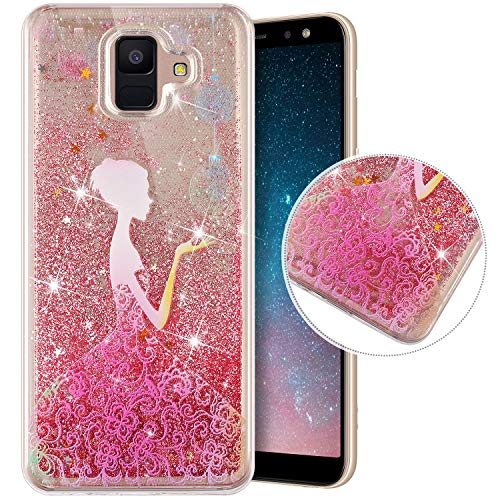 Coque Compatible avec Samsung Galaxy A6 2018,Transparente Coque Paillettes Mobiles Glitter Liquide Motif Peint TPU Souple Silicone Housse Etui de Protection Complete Antichoc Brillant Gel,Princesse