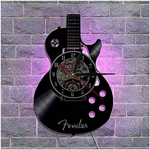 Reloj de pared de vinilo para CD de guitarra, 12 pulgadas, reloj de pared de vinilo para decoración de interiores de sala de estar