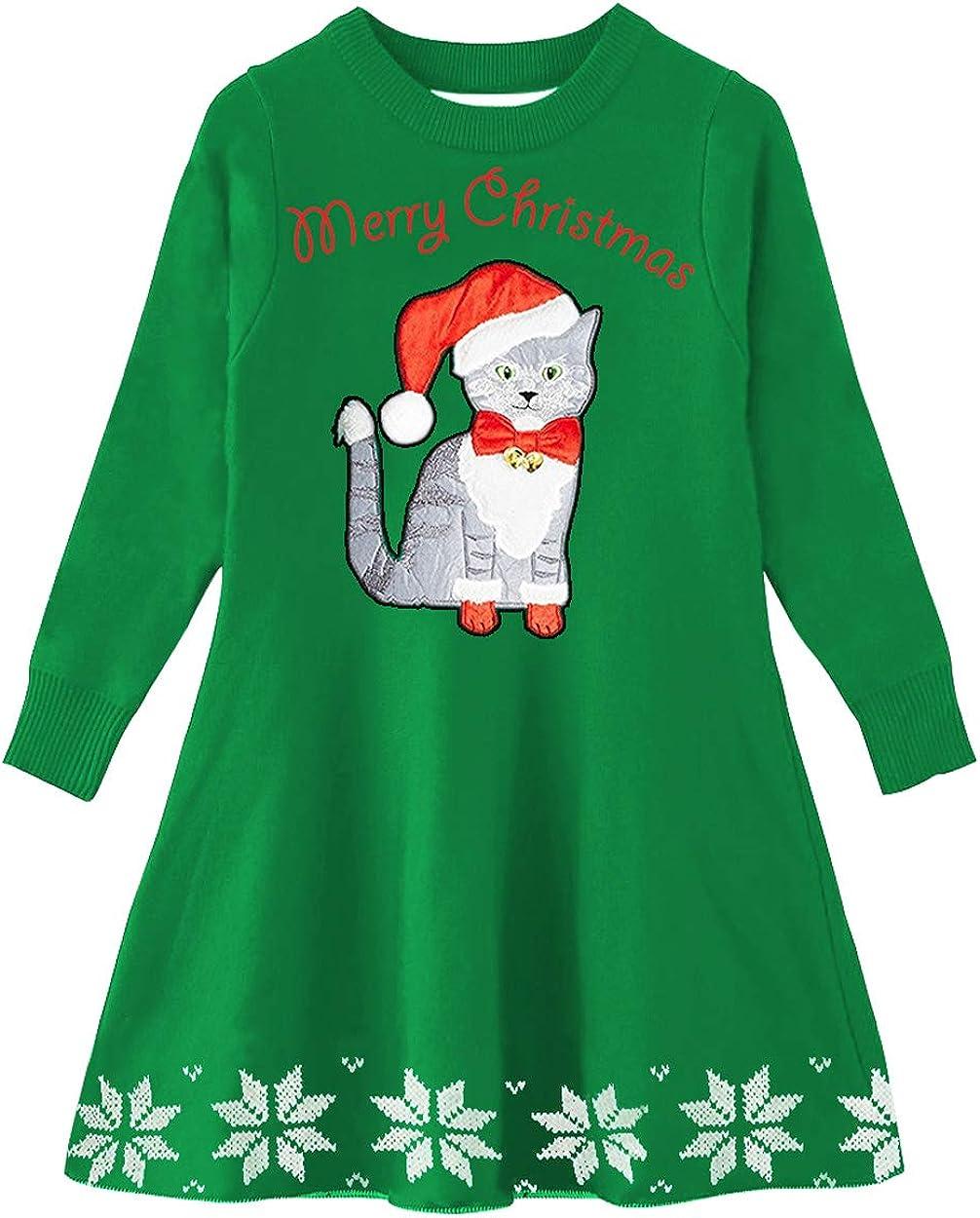 UNIFACO Little Girls Christmas Sweater Dress Santa Reindeer Xmas Gifts Winter Knit Long Sleeve Dresses 2-9T