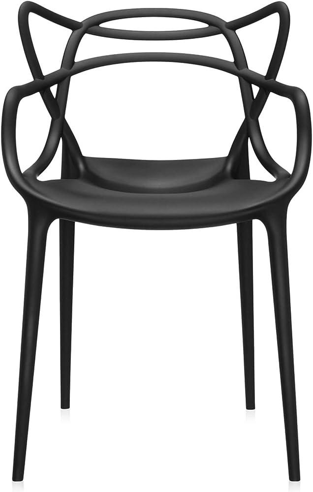 Kartell masters,set da 4 sedie,polipropilene modificato colorato in massa e trattamento effetto soft touch 5866/09