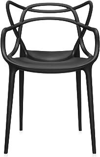 Kartell Masters Silla, Plástico, Negro, 53.5x83x90 cm, Pack de 4