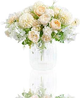 Fleurs Artificielles, Lot de 2 Arrangements Floraux en Plastique Réalistes, Centres de Table de Mariage Décorations de Fêt...
