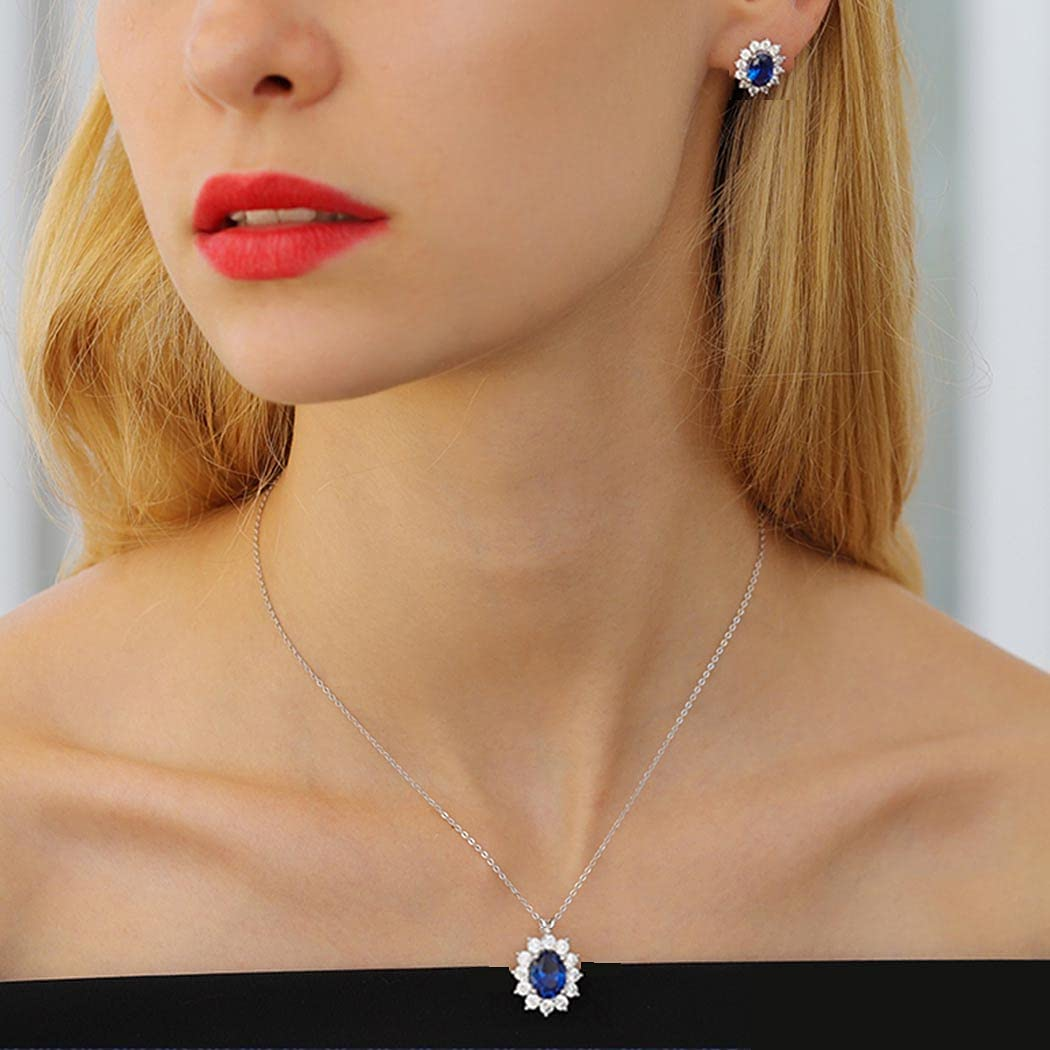 Cliory Bride Rhinestone Necklace Ear Studs Set Crystal Bridal Wedding Jewelry Sets for Women Bridesmaid(Set of 3)