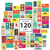 Avamie 120 Pack Lunch Box Notes for Kids- Motivational Inspirational Lunch Box Love Notes 60 Unique Designs 2x3.5 inch Dimension (Colorful Theme + General Theme)