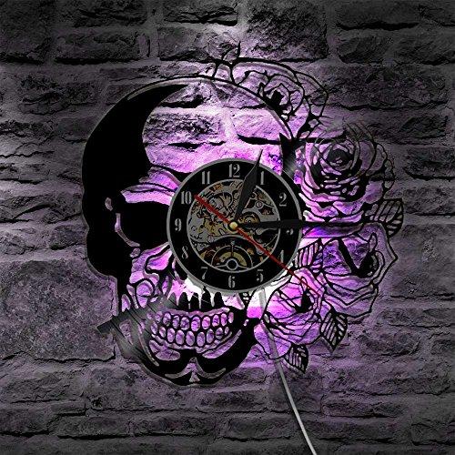Art hecho a mano zombie Silhouette Skull Creative Vinyl Records reloj de pared- iluminación de noche LED de 7 colores