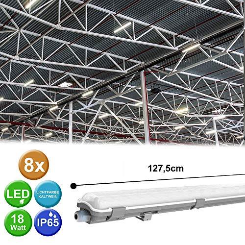 8er Set LED Röhren Wannen Lampen Werkstatt Leuchte Decken Strahler Industrie Tageslicht Beleuchtung