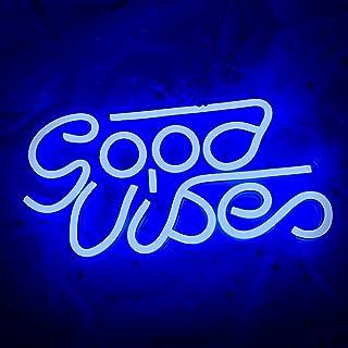 Good Vibes Neon Sign (33,5 x 17,5 cm) Cisteen LED avec plaque acrylique Décoration murale Goodvibes néon pour chambre à co...