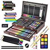 Sunnyglade 145 Piece Deluxe Art Set, Wooden Art Box & Drawing Kit with Crayons, Oil Pastels, Colored Pencils, Watercolor Cakes, Sketch Pencils, Paint Brush, Sharpener, Eraser, Color Chart (Cherry)