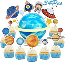 Sunsor 34Pcs Solar System Astronaut Space Shuttle UFO Rocket Star Planet Cupcake Topper Outer Space Themed Cake Decorative Toppers for Kids Birthday Party Favor Supplies