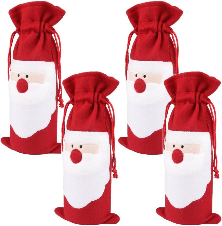 Christmas Cotton Fabric Wine Bag Bottle Bag with Drawstring Gift Bag