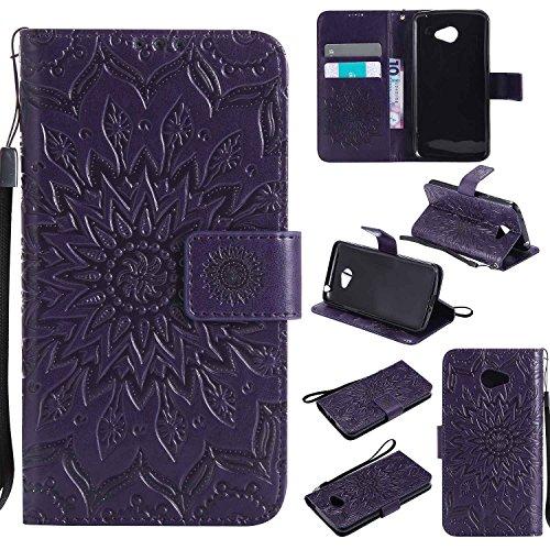 pinlu® PU Leder Tasche Etui Schutzhülle für LG K5 Lederhülle Schale Flip Cover Tasche mit Standfunktion Sonnenblume Muster Hülle (Lila)