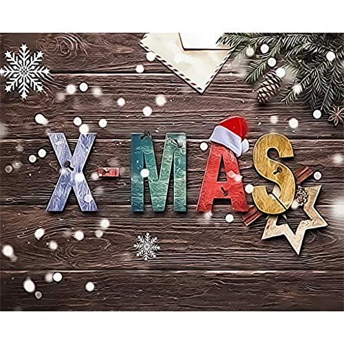 Aoixbcuroc Zestaw do malowania według liczb dla dzieci i dorosłych początkujących, DIY akrylowy obraz z płótnem, instrukcja, hak, pędzel, farby akrylowe — Boże Narodzenie