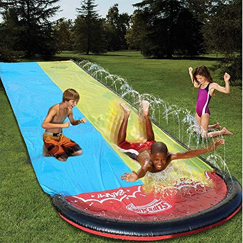 in budget affordable Double water slides for kids. Backyard water slide. Water slide.  188 x 55 inch garden.