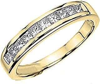 Dazzlingrock Collection 0.75 Carat (ctw) 14k Gold Princess Diamond Ladies Anniversary Wedding Stackable Ring Band 3/4 CT