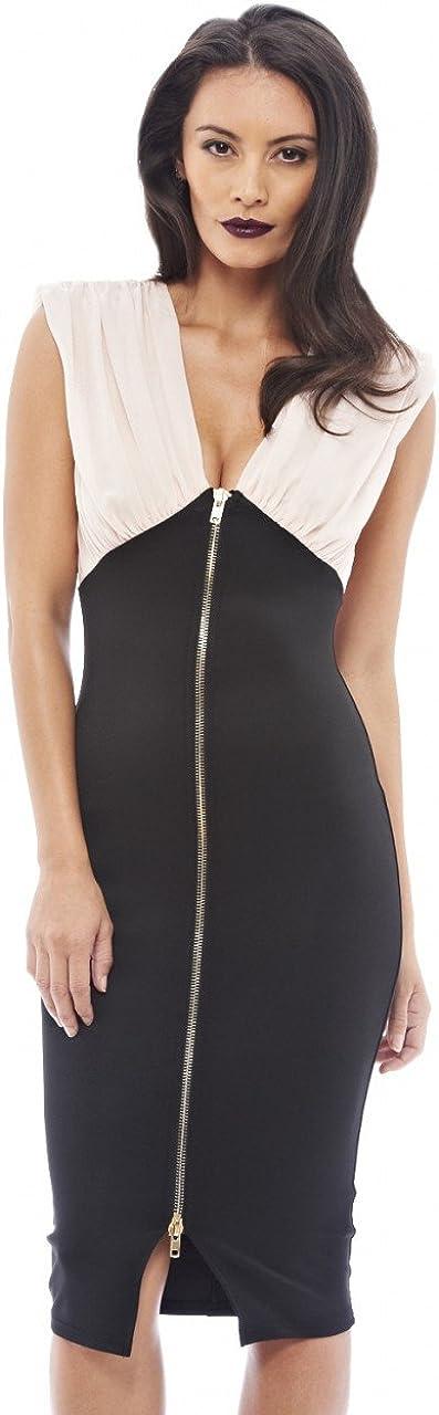 AX Paris Women's Chiffon Top Bodycon Zip Dress