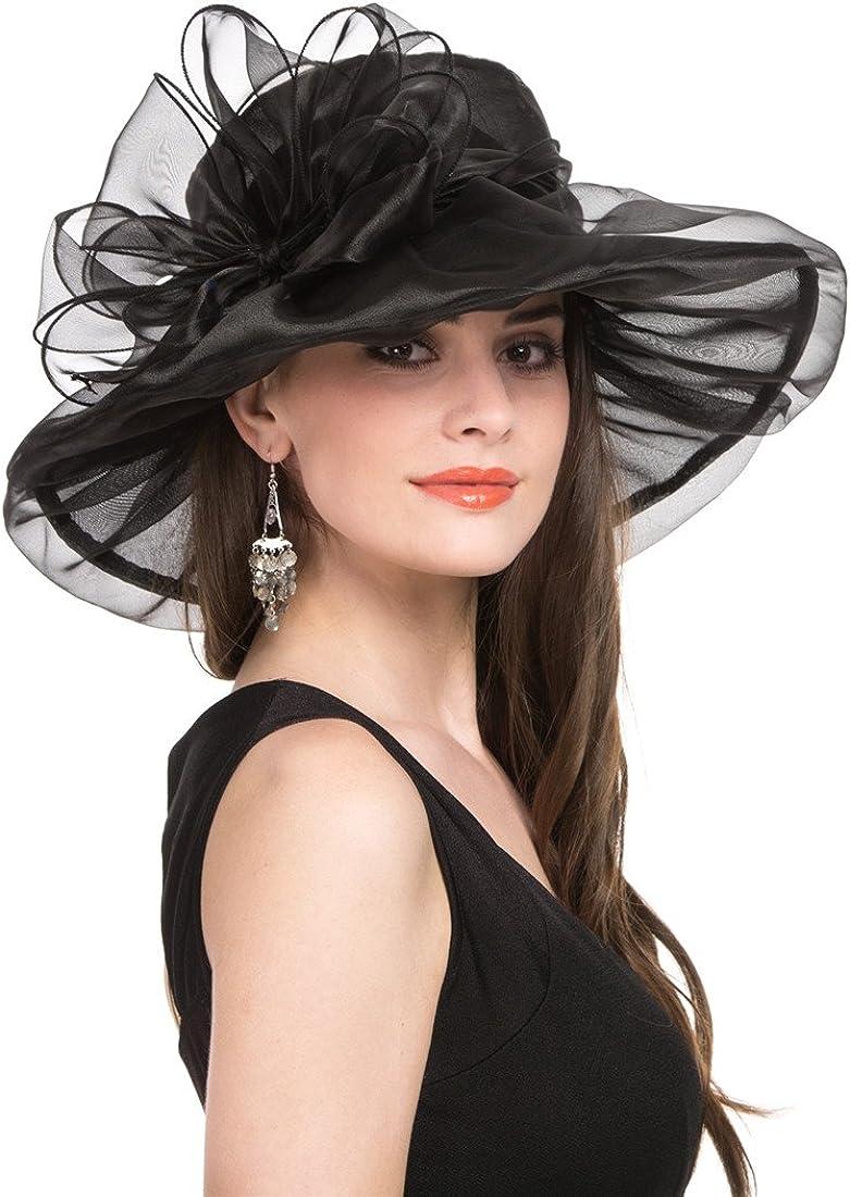 Bellady Womens Organza Church Hats,Wide Brim Tea Party Hat, Kentucky Derby Fascinator Dress Cap
