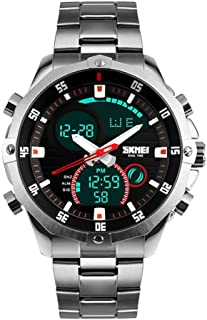 SKMEI Mens Wrist Watch, Waterproof Military Analog Digital Watches with LED Multi Time Chronograph, Stainless Steel Busine...
