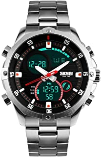 Mens Wrist Watch, Waterproof Military Analog Digital Watches with LED Multi Time Chronograph, Stainless Steel Business Watches for Men