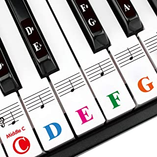 Piano Keys Stickers for 88/61/54/49/37 Key. Large Bold Colorful Letter Piano Stickers Perfect for kids Learning. Multi-Col...