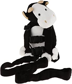Prettyia 2 in 1 Baby Kids Keeper Assistant Toddler Walking Backpack Strap Harnesses&Leashes - Black Cow