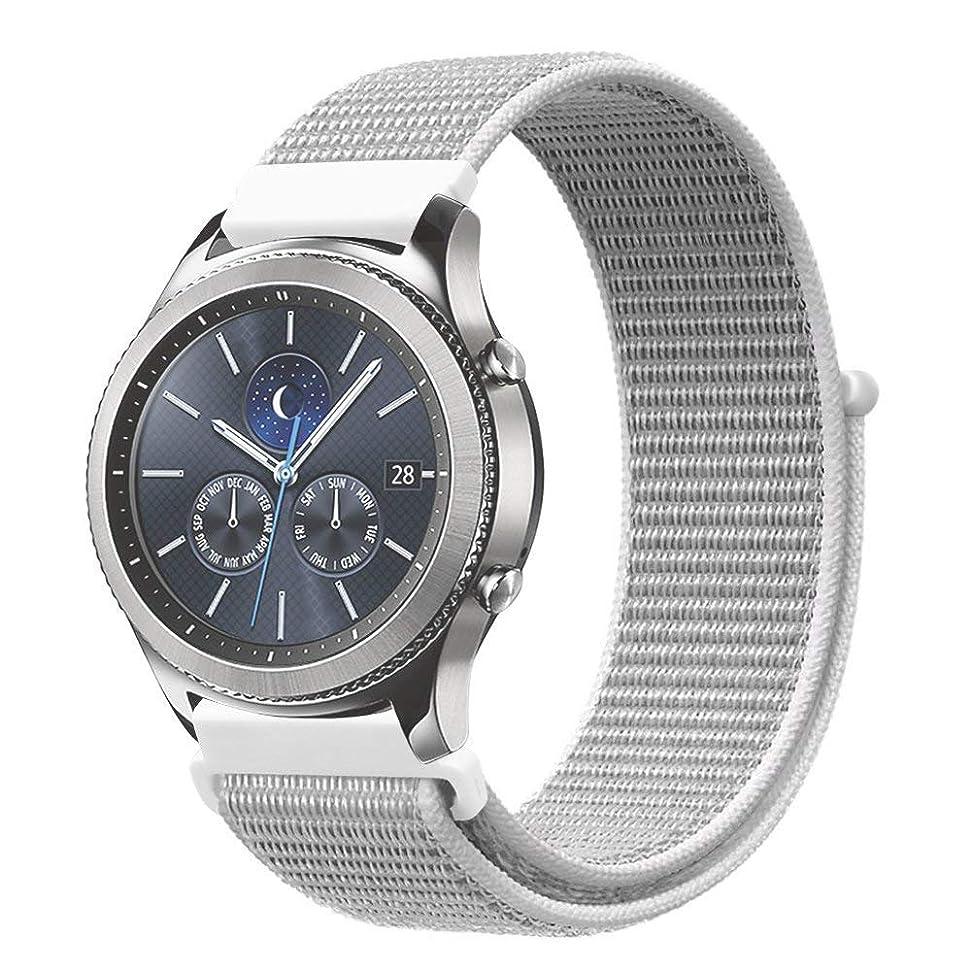 ワックスハシー製作PINHEN 編みナイロン 腕時計ベルト 20MM 22MM スマートウォッチ通用リストバンド ベルクロ締め 通気素材 Samsung Gear S2 Classic /S3 Classic/Frontier Ticwatch E Amazfit pace 交換バンド ファスナー閉鎖 (20MM, seashell)