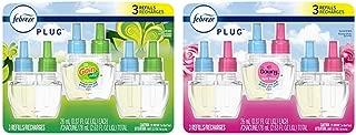 Febreze Odor-Eliminating Plug in Air Freshener Scented Oil Refill, Gain Original Scent, 3 Count & Plug in Air Freshener Scented Oil Refill, Downy April Fresh, 3 Count