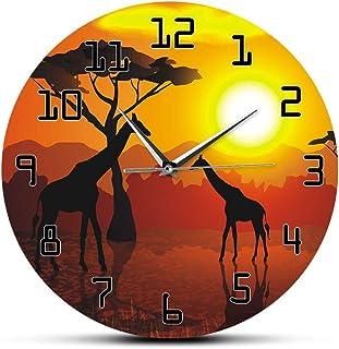 Wanduhr Afrika Giraffe  Afrika Acryl Deko Wand Uhr