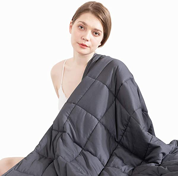 Beauty Kate Weighted Blanket Adult 20 Lbs 60 X80 Queen Size 100 Organic Cooling Cotton Heavy Blanket For Improved Sleep Relieving Anxiety Grey