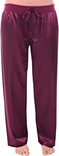 Alexander Del Rossa Womens Satin Solid and Printed Pajama Pants, Silky Pj Bottoms