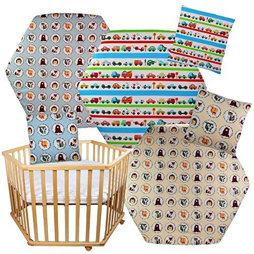 2 tlg.Set Spannbettlaken + Kissenbezug für 6-eckiges Laufgitter Matratze 105x120cm Baumwolle (Ohne Matratze und Laufgitter) (Creme)