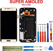 swark Super AMOLED Display Compatible with Samsung Galaxy S6 Edge G925S G925V G925i G925F Touch Screen Display with Frame + Tools (Gold)