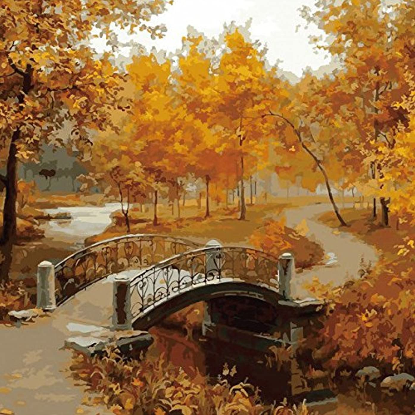 酔っ払い不測の事態タクトUngfu Mall 壁画 DIY フレームレス ペインティング「秋の風はそびえている」リネンキャンバス 油絵 ペイント 紙アート