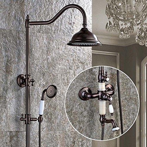 Luxurious shower Luxus Classic Jade Deco Öl eingerieben Bronze Badewanne elegante Regendusche Wasserhahn Set Whirlpool Mixer mit Handbrause SM -042611, ORB Tippen