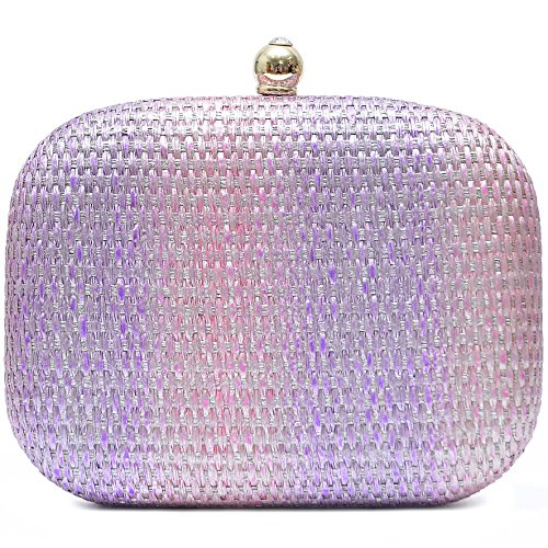 Damen Bast Abendtaschen Clutch Umhänge Tasche Handtasche geflochten Hard Case in vielen Farben (Violett)
