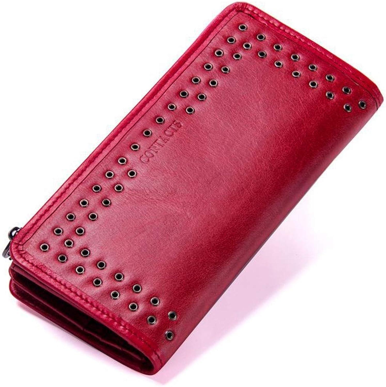 Mifusanahorn Leder Brieftasche Gnade Gnade Gnade Intellektuelle Hand Tasche Kartentasche Große Kapazität Abendessen Pakete Frauen Damen (Farbe   rot) B07MZVM2P2 359906
