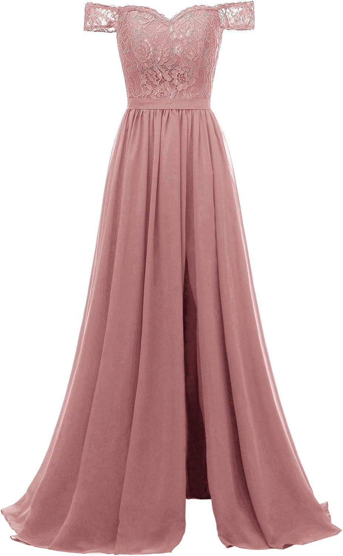 Lamosi Off Shoulder Long Bridesmaid Dress Lace Chiffon Evening Dress Slit Wedding Party Gowns