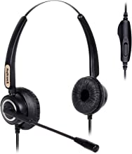 Volume and Mute Switch Binaural Headset with Noise Canceling Mic for Yealink T42 T28 etc Avaya 1608 1616 9650 Grandstream 1625,2120 Snom 870 360 AltiGen IP805 Panasonic KXT IP Phones